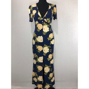 *NWT* ASOS Long Blue Floral Rose Dress Size 8